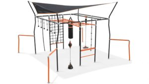 Vuly Ninja Quest Monkey Bars with Cargo Net, 6 x Ninja Grips, Flying Fox, Boxing Bag, Gym Rope, Jungle Rope and Punching Ball